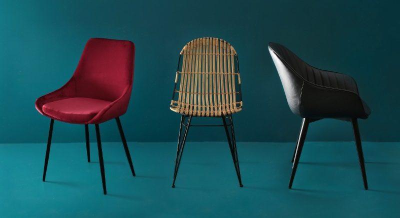 chaise en velours cuir ou rotin