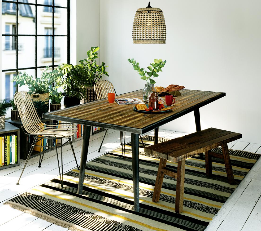 table repas rectangulaire bohème pour 6 personnes