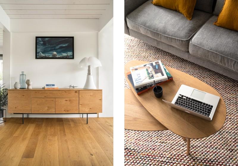 Tables en bois gigognes et buffet en bois clair de style scandinave