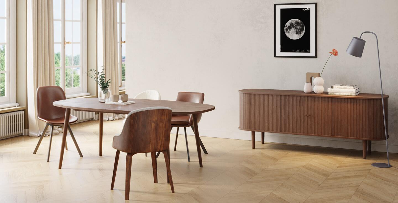 Buffet et table repas en chêne fumé pour salle à manger rétro