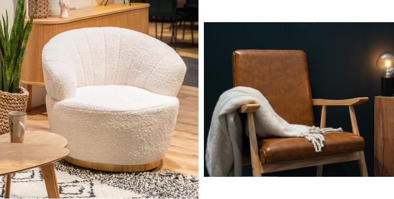 Fauteuil en laine bouclé et fauteuil en cuir de style rétro