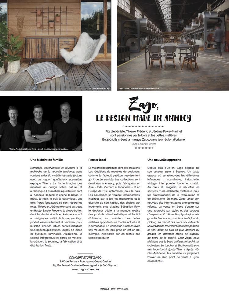 histoire de la marque de meubles Zago