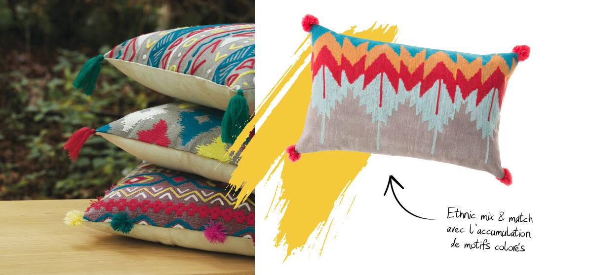 Coussins bohèmes aux motifs ethniques colorés
