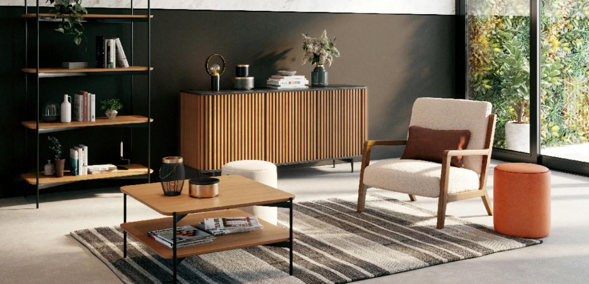 Salon Japandi épuré en bois clair et noir