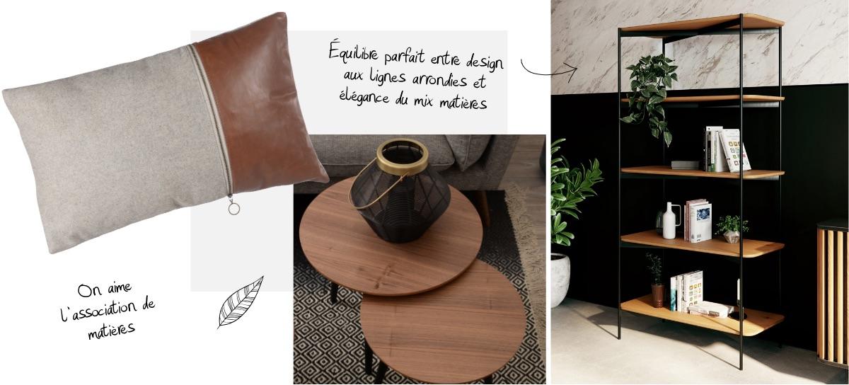 Association du métal et du bois massif du mobilier esprit Japandi
