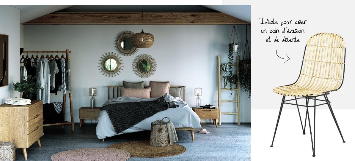 Une chambre en bois clair et rotin de style Scandicraft